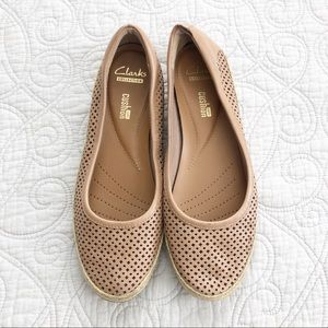 Clarks Danelly Adira Sand Leather Espadrille Flats